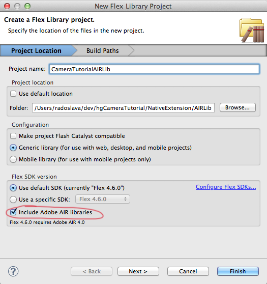 Include Adobe AIR libraries