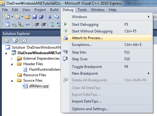 Attach to process in Visual C++