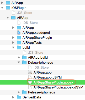 copy the iOS extension from the Xcode project