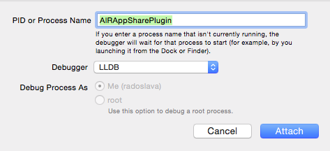 put the iOS extension name as Process Name